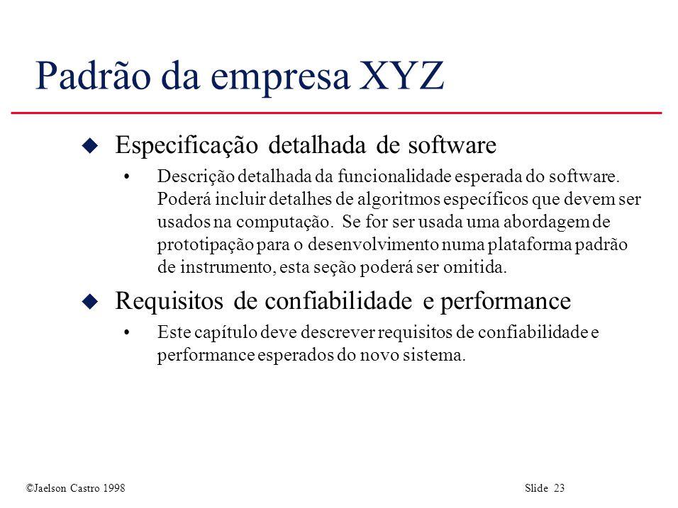 Padrão da empresa XYZ Especificação detalhada de software
