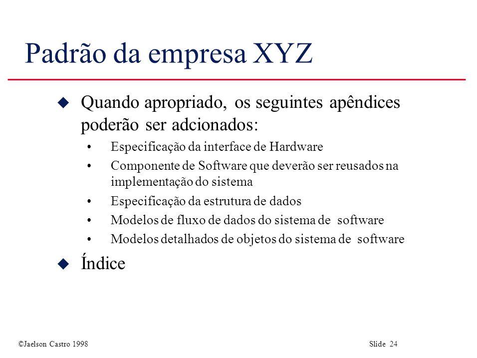 Padrão da empresa XYZ Quando apropriado, os seguintes apêndices poderão ser adcionados: Especificação da interface de Hardware.
