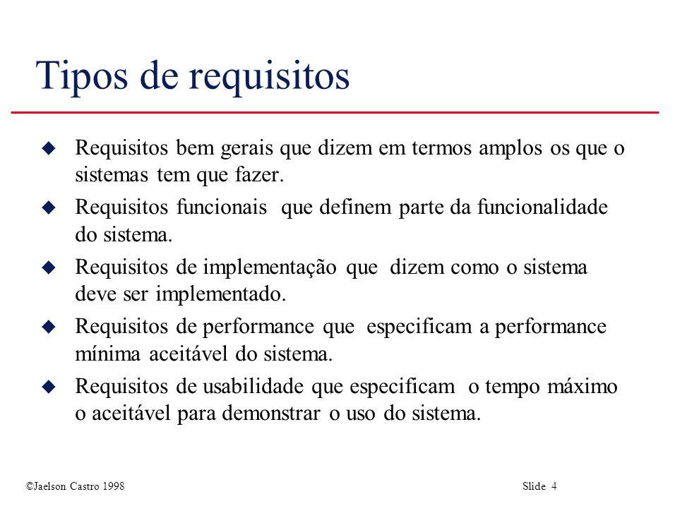 Tipos de requisitos Requisitos bem gerais que dizem em termos amplos os que o sistemas tem que fazer.