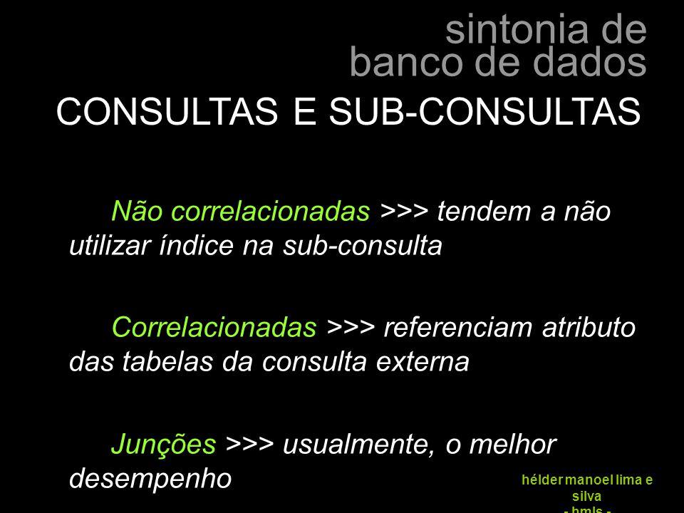 CONSULTAS E SUB-CONSULTAS
