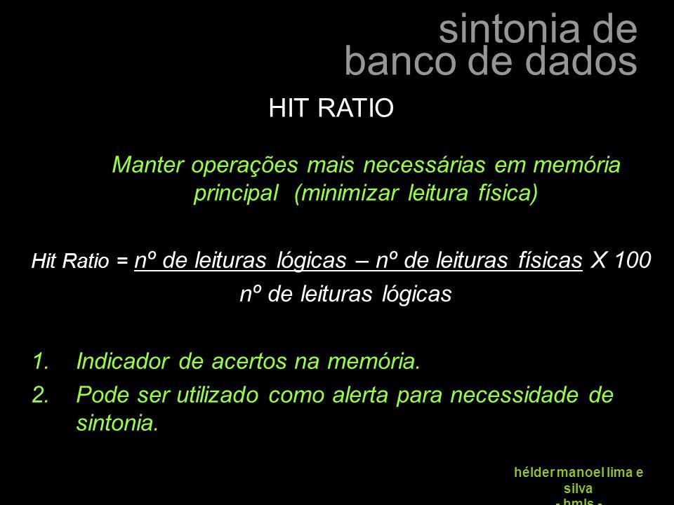 HIT RATIO Manter operações mais necessárias em memória principal (minimizar leitura física)