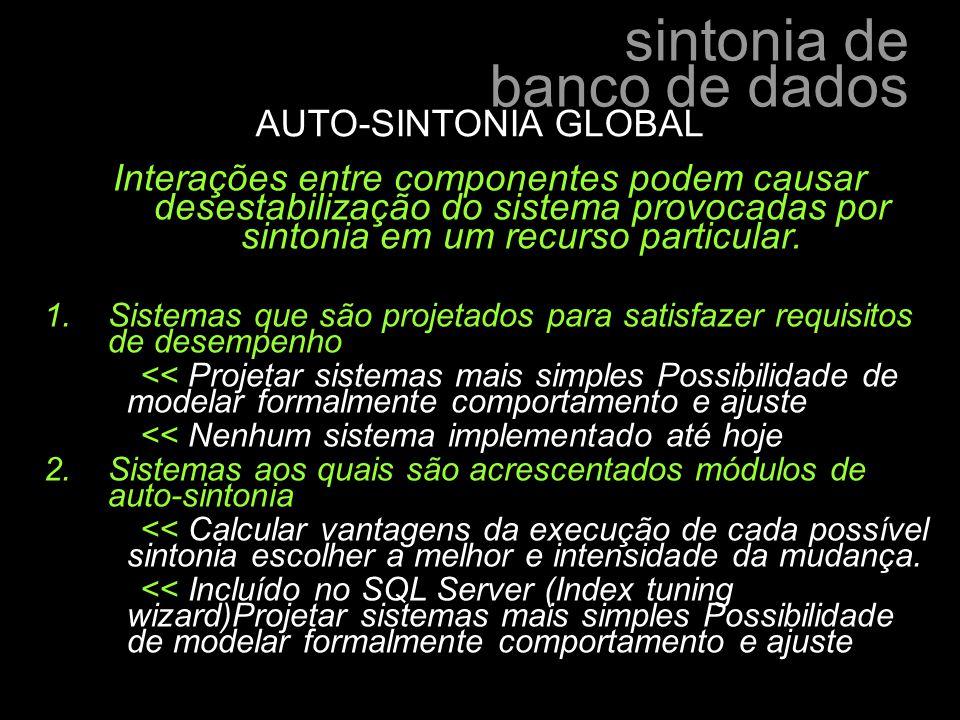 AUTO-SINTONIA GLOBAL Interações entre componentes podem causar desestabilização do sistema provocadas por sintonia em um recurso particular.