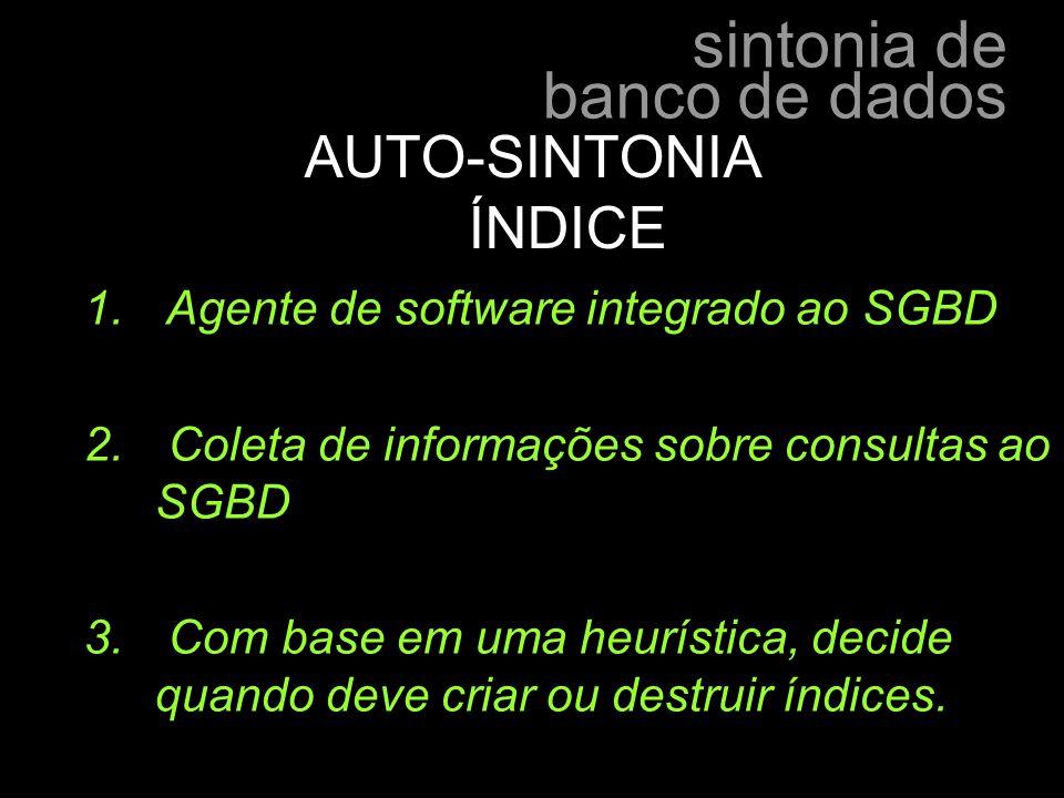 AUTO-SINTONIA ÍNDICE Agente de software integrado ao SGBD