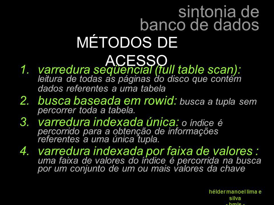 MÉTODOS DE ACESSO varredura seqüencial (full table scan): leitura de todas as páginas do disco que contém dados referentes a uma tabela.