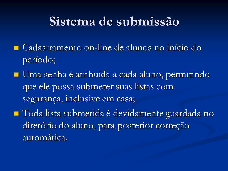 Sistema de submissão Cadastramento on-line de alunos no início do período;