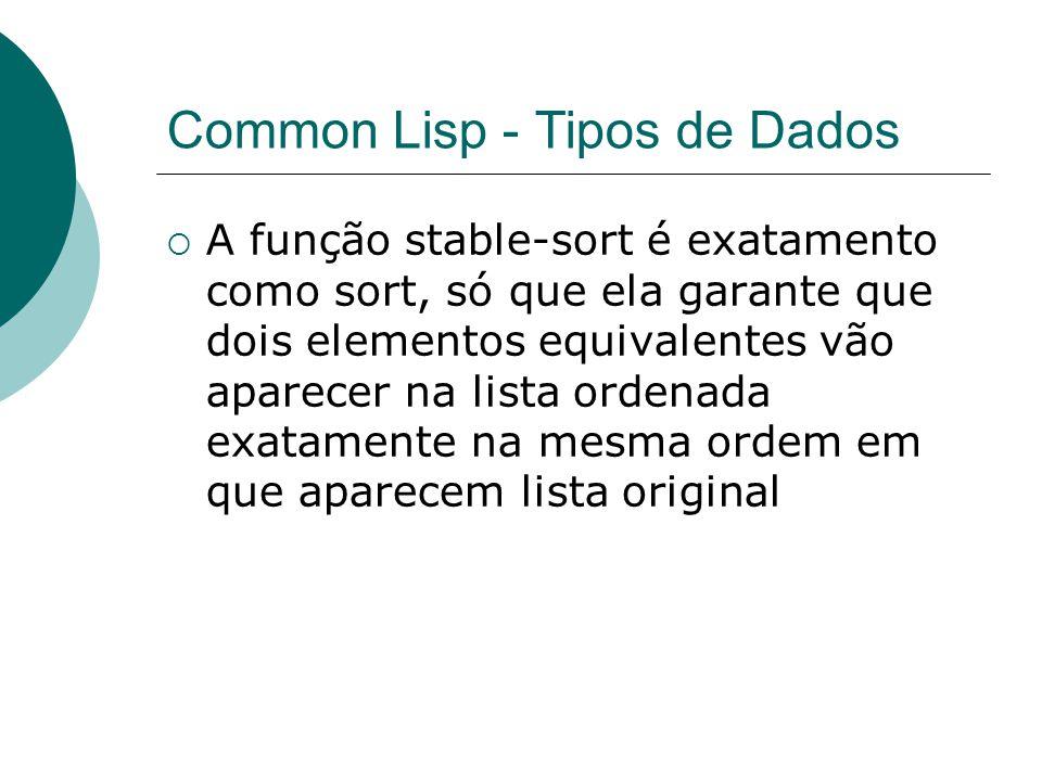 Common Lisp - Tipos de Dados