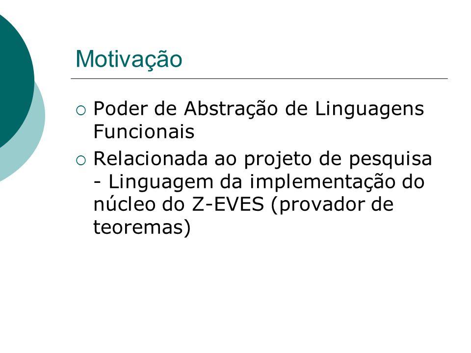 Motivação Poder de Abstração de Linguagens Funcionais