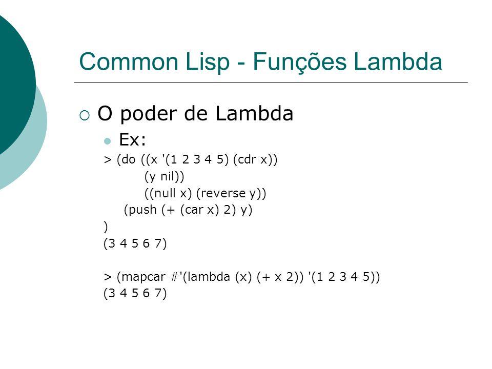 Common Lisp - Funções Lambda