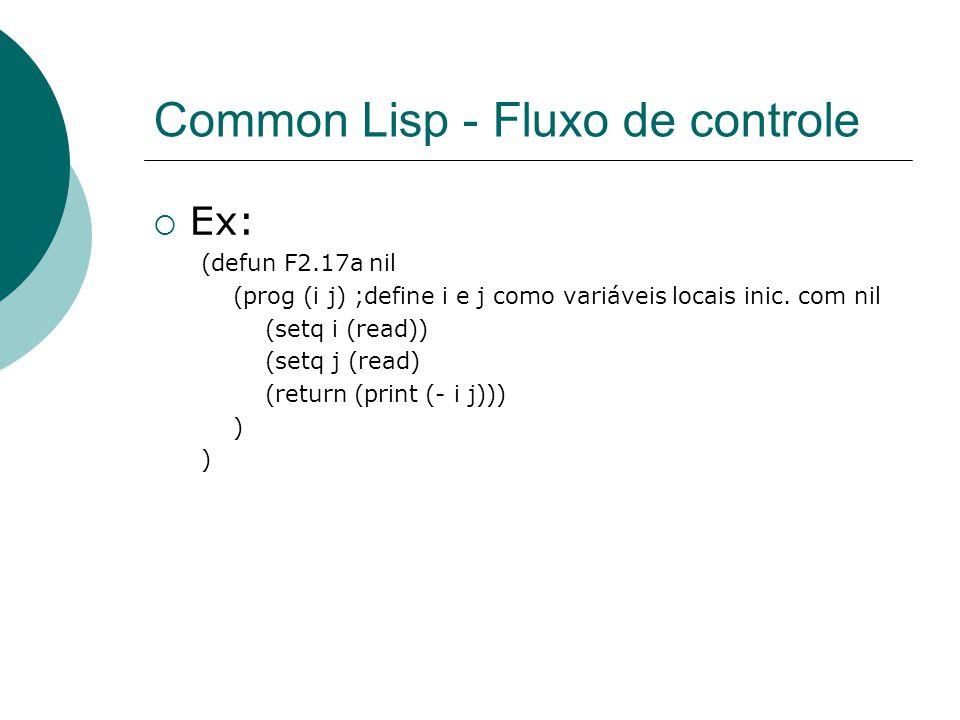 Common Lisp - Fluxo de controle