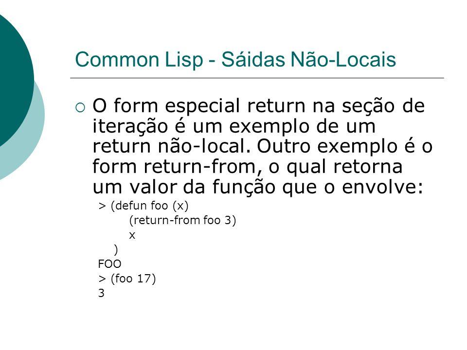 Common Lisp - Sáidas Não-Locais