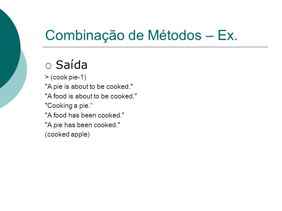 Combinação de Métodos – Ex.
