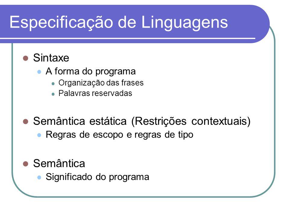 Especificação de Linguagens