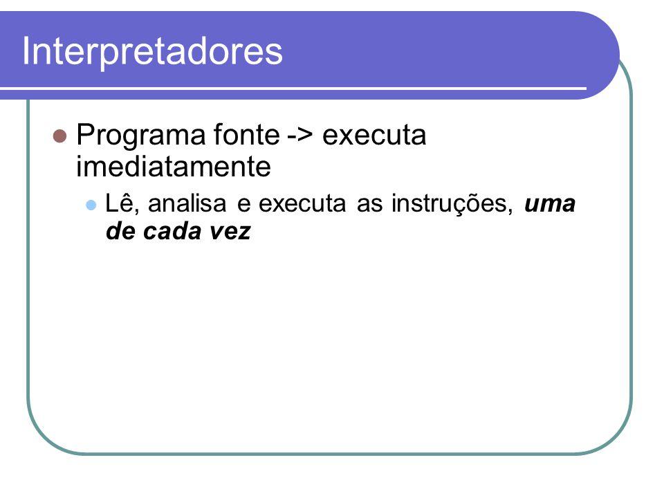 Interpretadores Programa fonte -> executa imediatamente