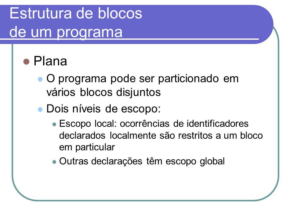 Estrutura de blocos de um programa