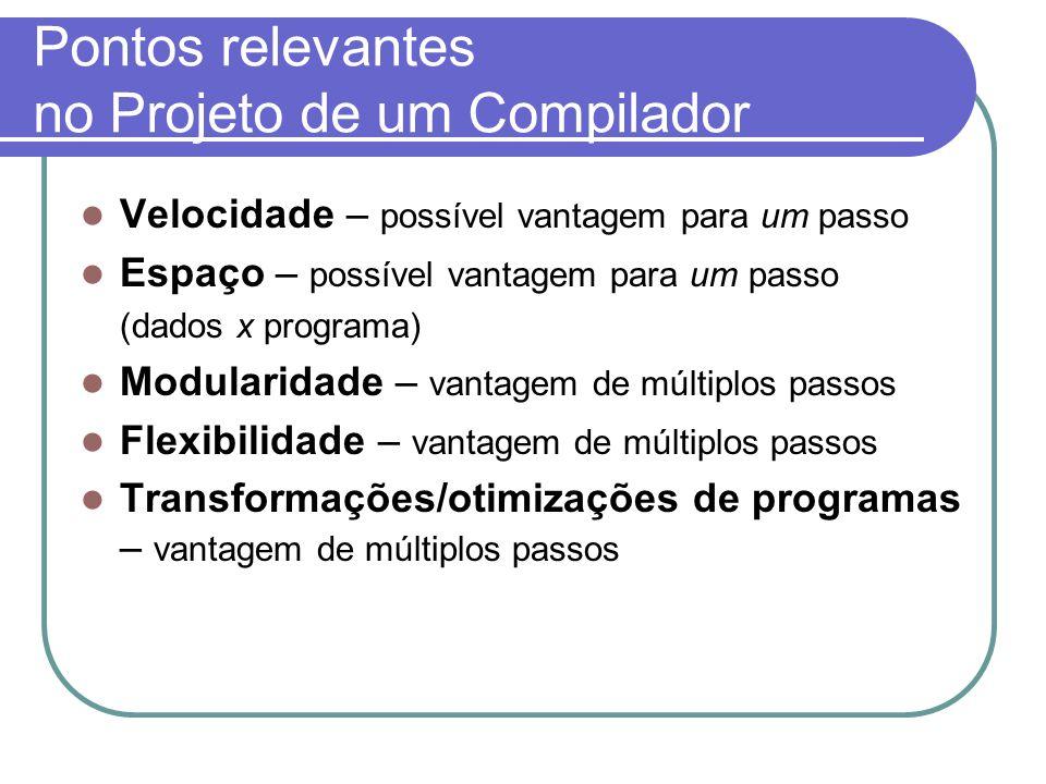 Pontos relevantes no Projeto de um Compilador
