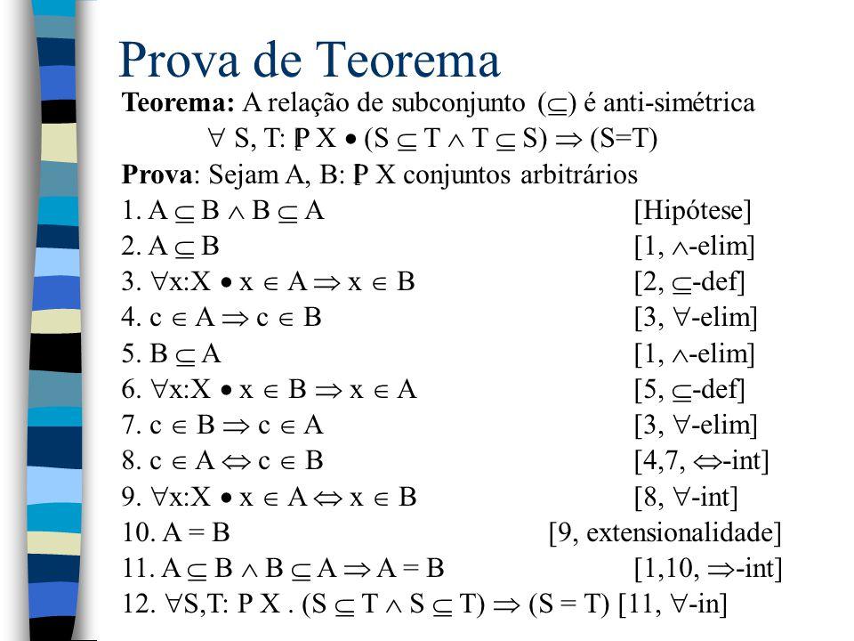 Prova de Teorema Teorema: A relação de subconjunto () é anti-simétrica.  S, T: P X  (S  T  T  S)  (S=T)