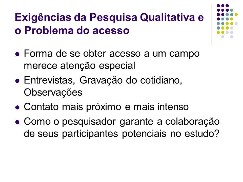 Exigências da Pesquisa Qualitativa e o Problema do acesso