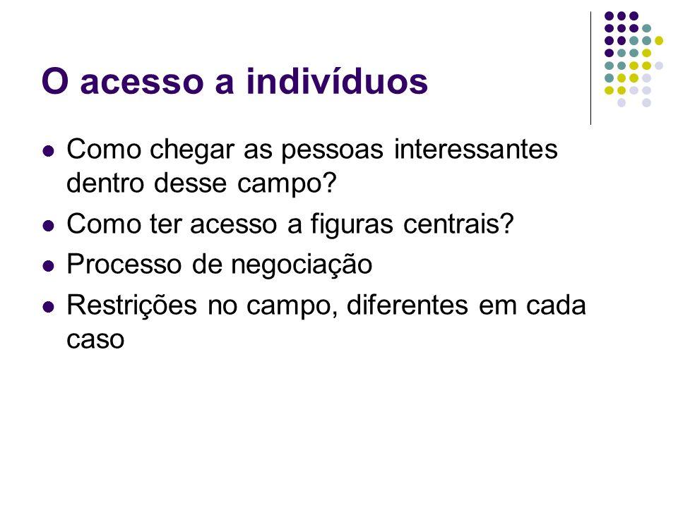 O acesso a indivíduos Como chegar as pessoas interessantes dentro desse campo Como ter acesso a figuras centrais