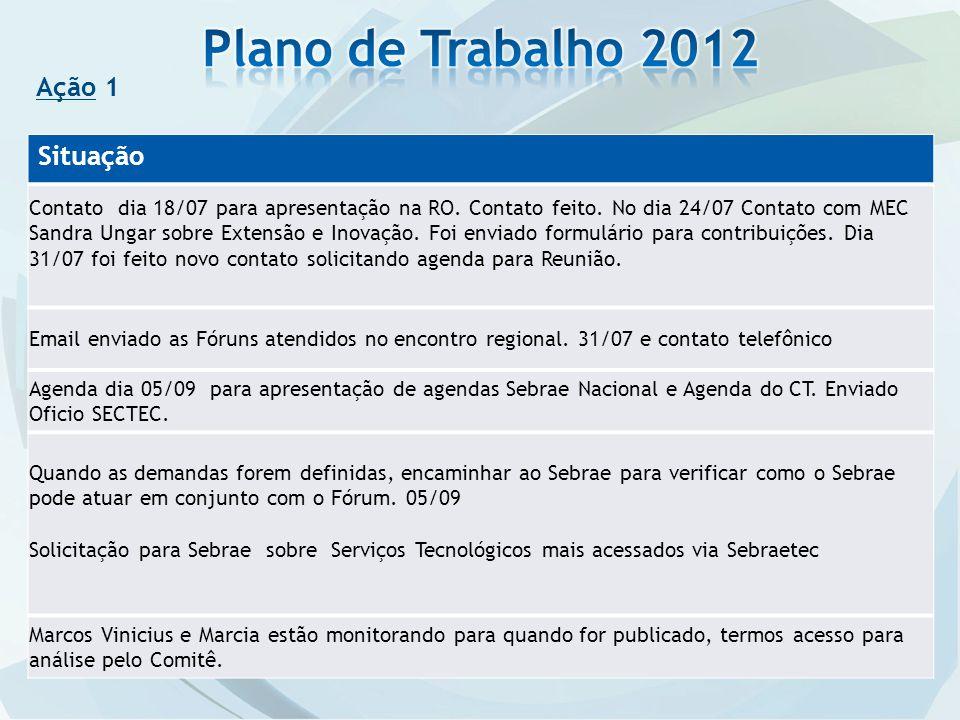 Plano de Trabalho 2012 Ação 1 Situação