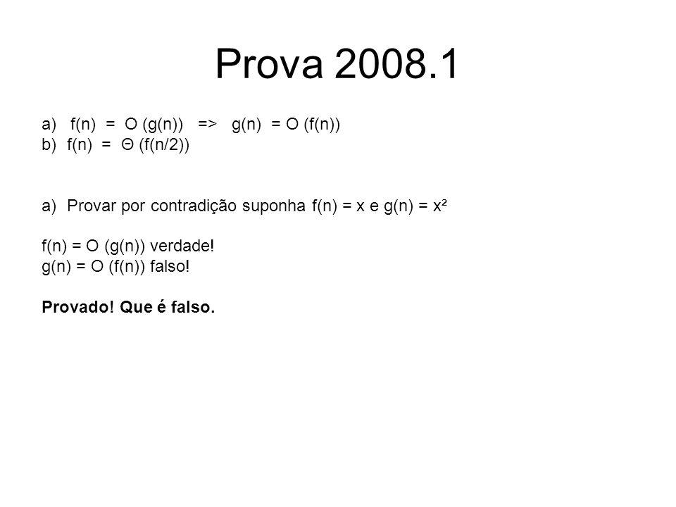 Prova 2008.1 a) f(n) = O (g(n)) => g(n) = O (f(n))