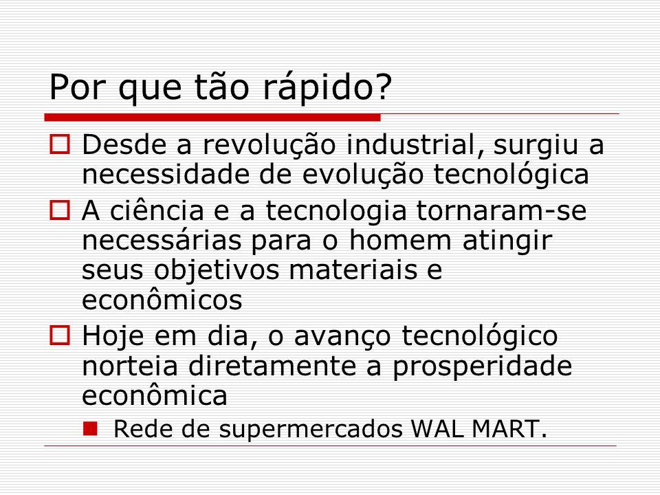 Por que tão rápido Desde a revolução industrial, surgiu a necessidade de evolução tecnológica.