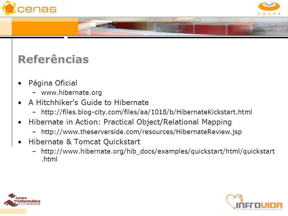 Referências Página Oficial A Hitchhiker s Guide to Hibernate