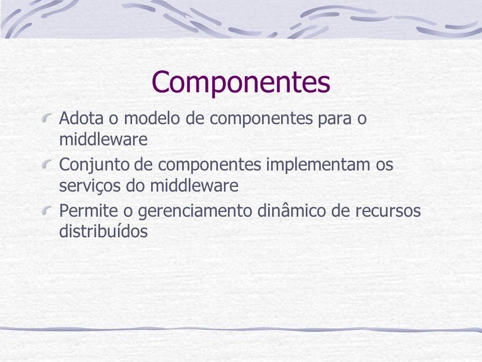 Componentes Adota o modelo de componentes para o middleware
