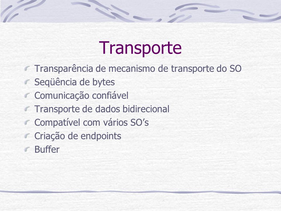 Transporte Transparência de mecanismo de transporte do SO