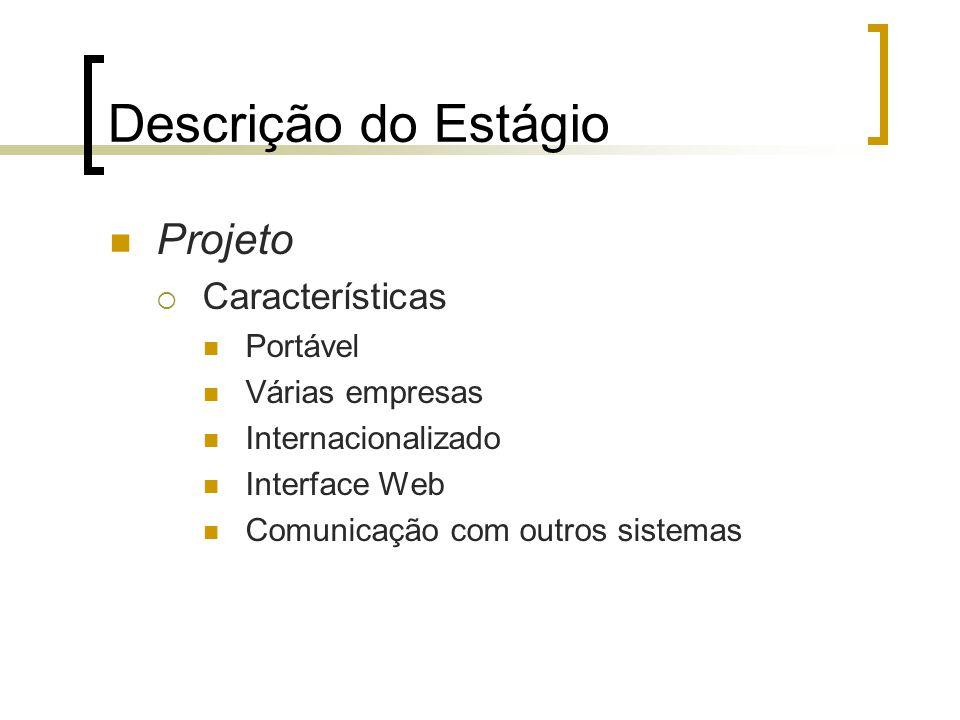 Descrição do Estágio Projeto Características Portável Várias empresas