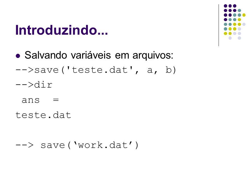Introduzindo... Salvando variáveis em arquivos: