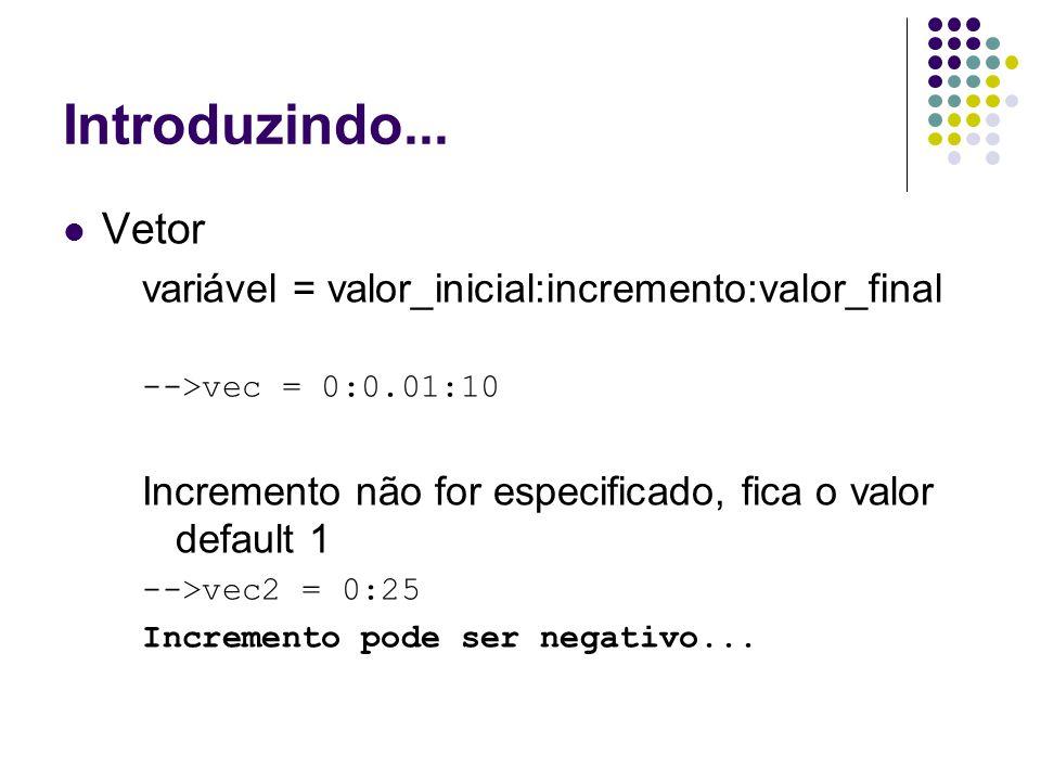 Introduzindo... Vetor variável = valor_inicial:incremento:valor_final