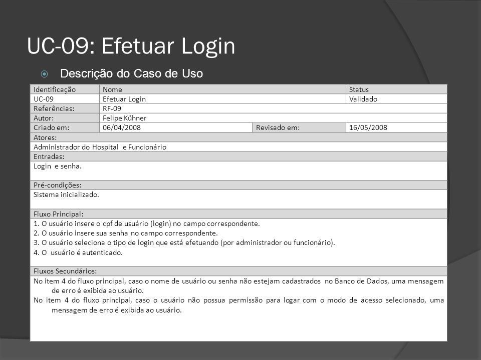 UC-09: Efetuar Login Descrição do Caso de Uso Identificação Nome