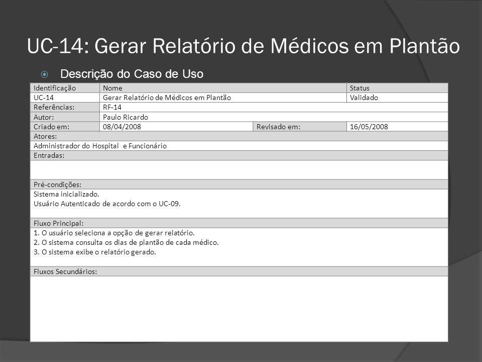 UC-14: Gerar Relatório de Médicos em Plantão