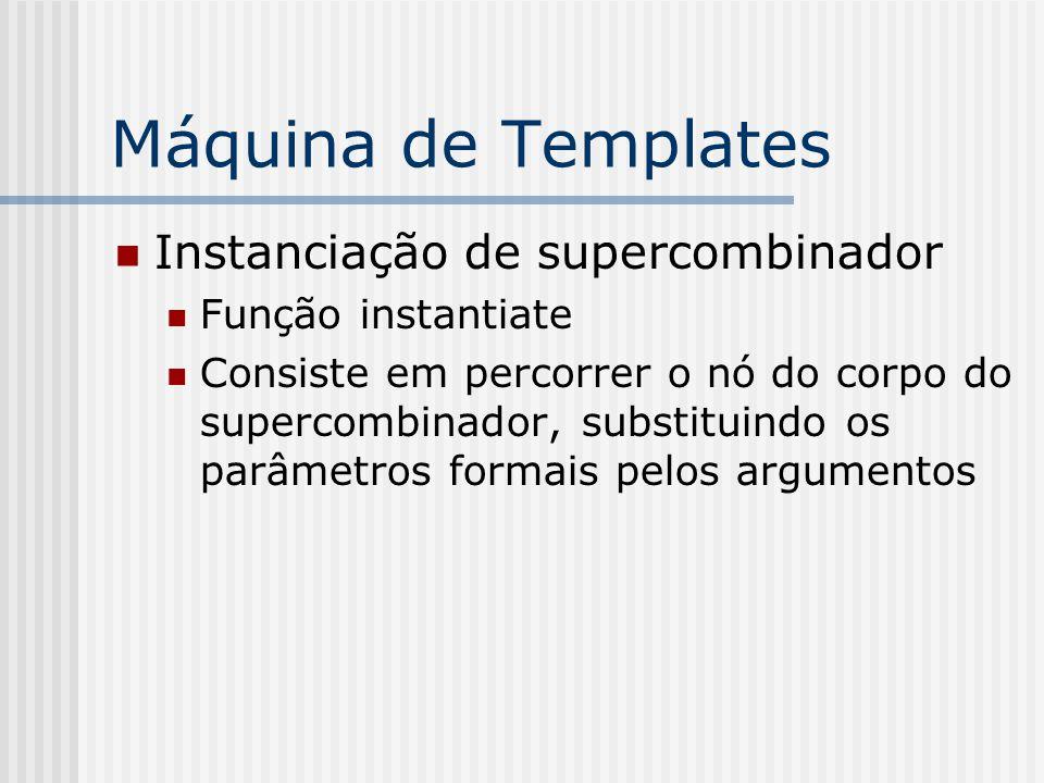 Máquina de Templates Instanciação de supercombinador