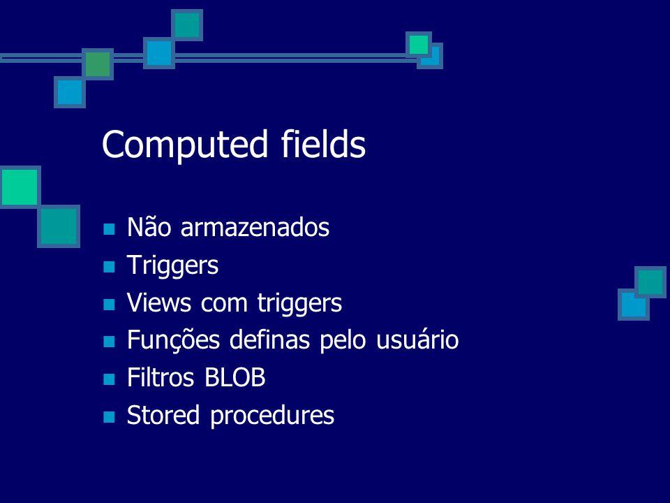 Computed fields Não armazenados Triggers Views com triggers