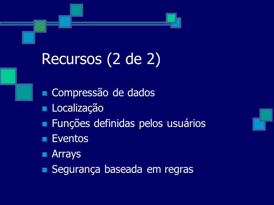 Recursos (2 de 2) Compressão de dados Localização