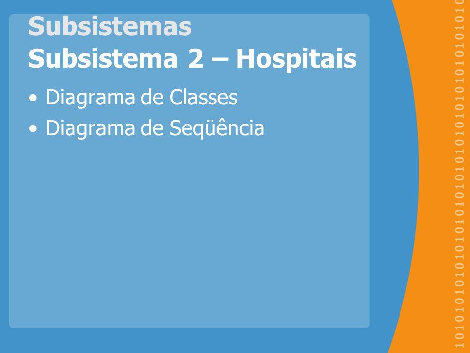 Subsistemas Subsistema 2 – Hospitais