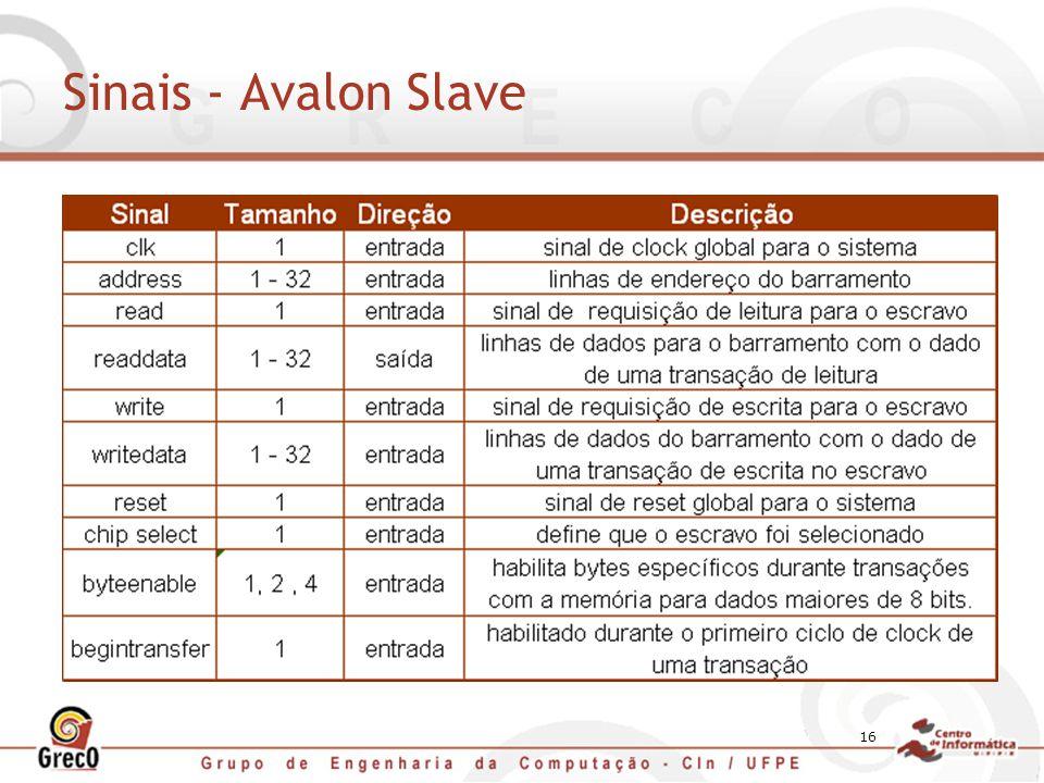 Sinais - Avalon Slave IRQ – Utilizado quando o escravo precisa requisitar um serviço do mestre.