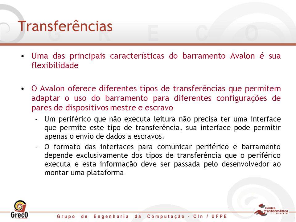 Transferências Uma das principais características do barramento Avalon é sua flexibilidade.