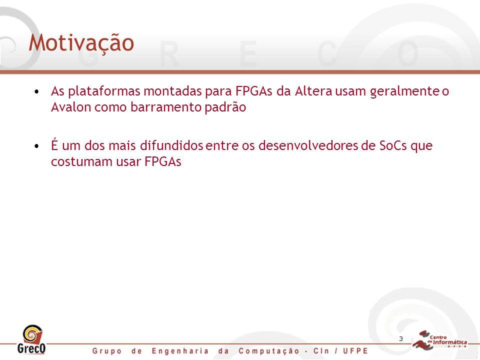 Motivação As plataformas montadas para FPGAs da Altera usam geralmente o Avalon como barramento padrão.