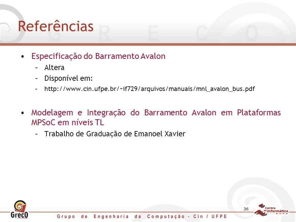 Referências Especificação do Barramento Avalon