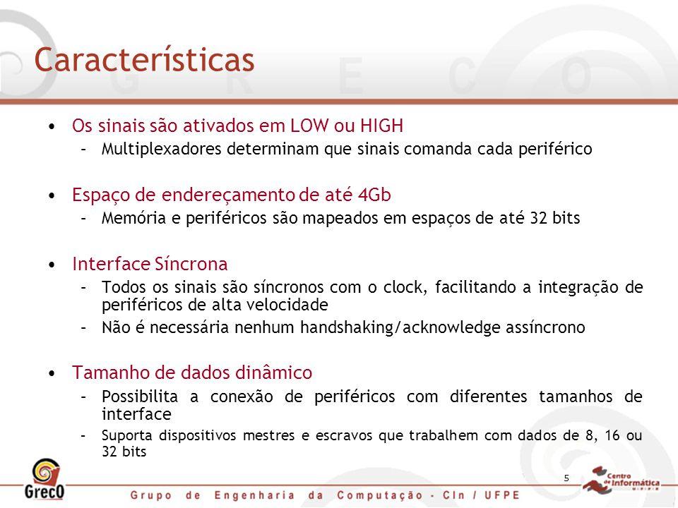 Características Os sinais são ativados em LOW ou HIGH