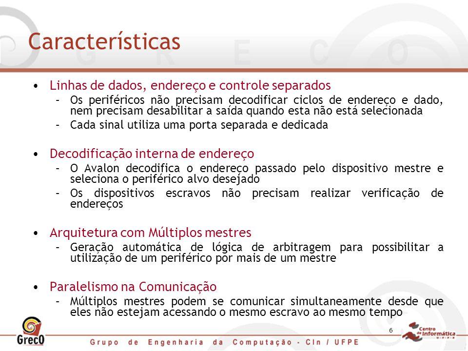 Características Linhas de dados, endereço e controle separados