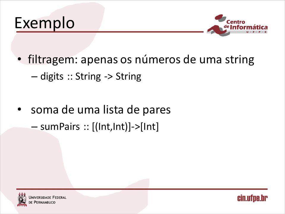 Exemplo filtragem: apenas os números de uma string