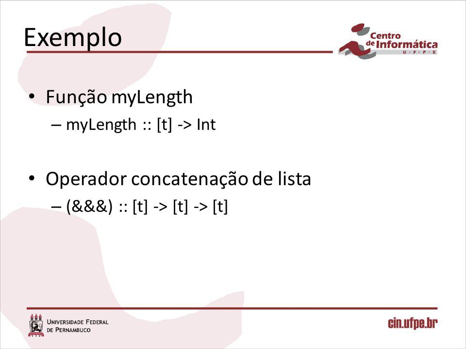Exemplo Função myLength Operador concatenação de lista