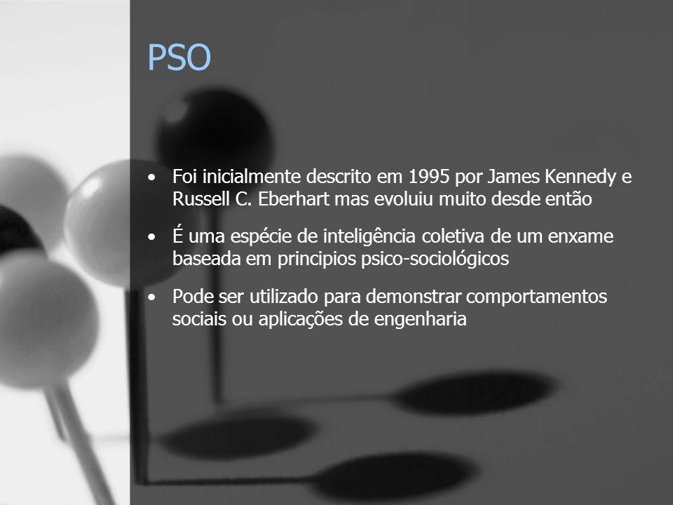 PSO Foi inicialmente descrito em 1995 por James Kennedy e Russell C. Eberhart mas evoluiu muito desde então.