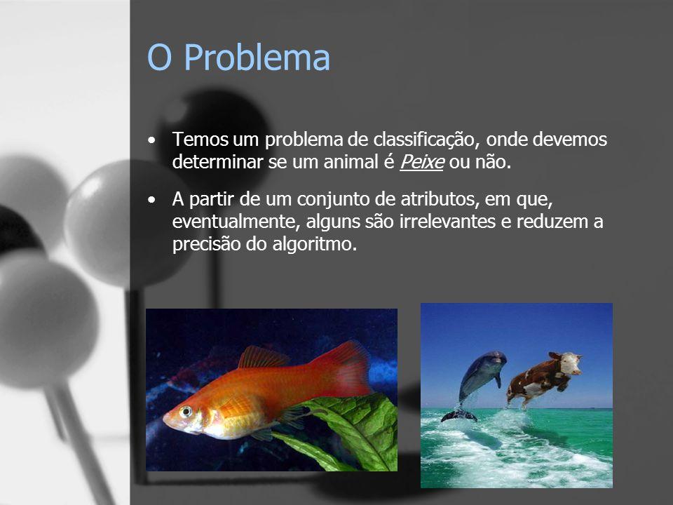 O Problema Temos um problema de classificação, onde devemos determinar se um animal é Peixe ou não.