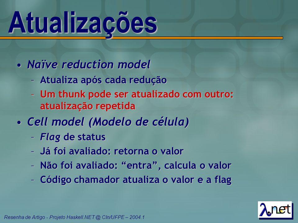 Atualizações Naïve reduction model Cell model (Modelo de célula)