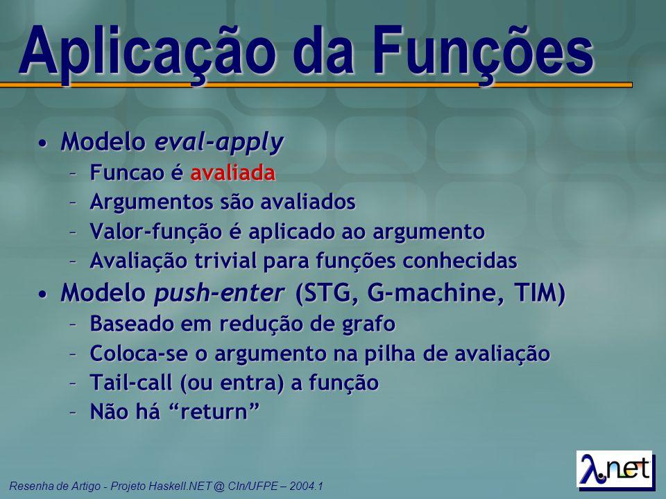 Aplicação da Funções Modelo eval-apply