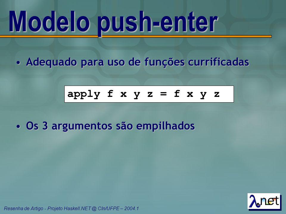 Modelo push-enter Adequado para uso de funções currificadas